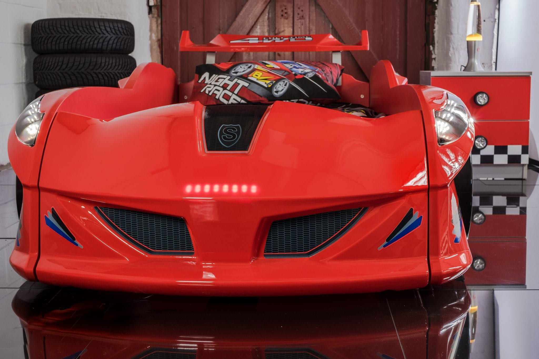 Car Bedding: Thunder Race Car Bed Red With LED Lights And Sounds