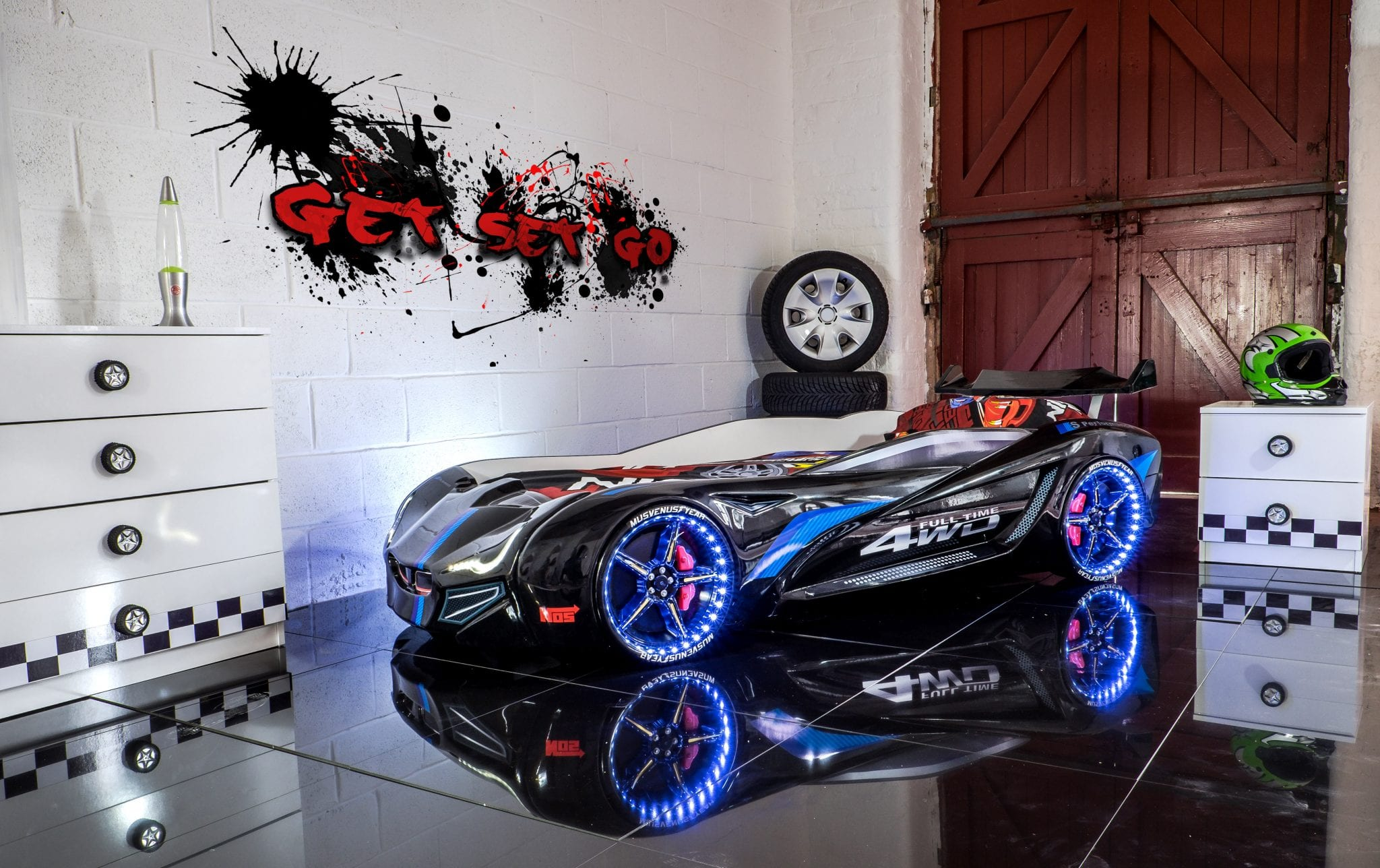 race car bedroom flash gt race car bed black with led lights and sounds 13034