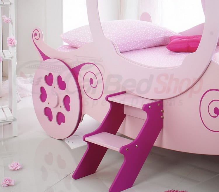 girls pink princess carriage bed